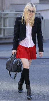 Dakota Fanning - Sexy Red Skirt Out & About March 7, 2012