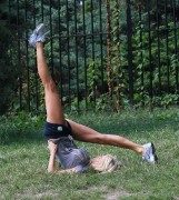 Victoria Silvstedt Stretching In Shorts in Central Park September 13th HQ x 15